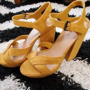 Torrid Mustard Yellow Platform Sandals